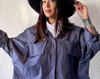 Wide cropped dolman blouse