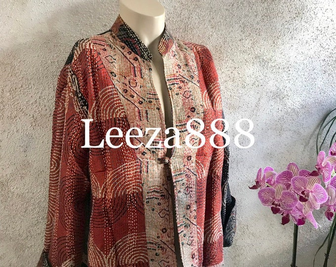 Mandarin jacket in silk kantha thats reversible