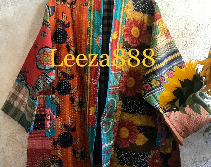 Winter Solstice reversible plus size vintage kantha kimono jacket