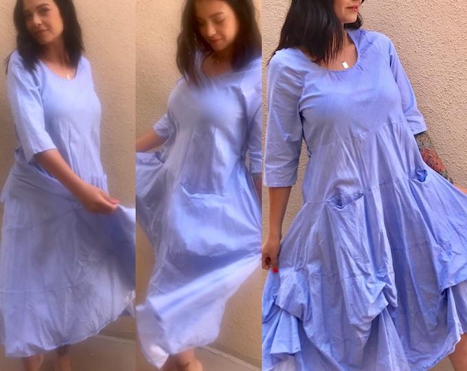Outlander dress in blue micro pinstripe cotton voile
