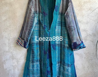 Watercolor windows one button reversible silk kantha jacket