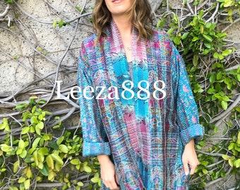 Amethyst Turquoise combo reversible plus size silk jacket