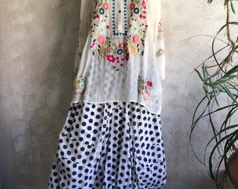 Polka dot funky skirt in navy and white block print cotton voile