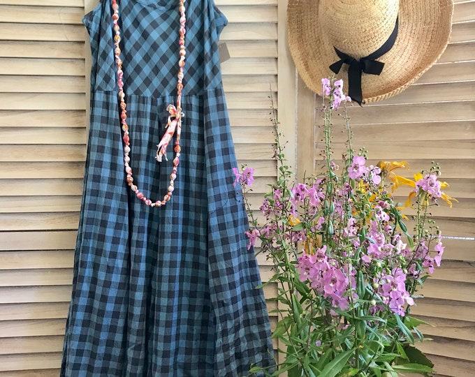 Grey and blue gingham check spaghetti strap dress