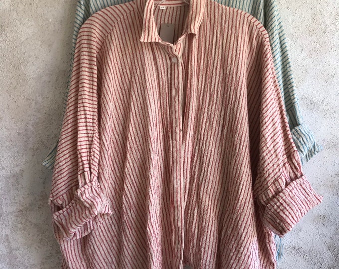 Button down red striped cotton hopsack gauze Tokyo shirt