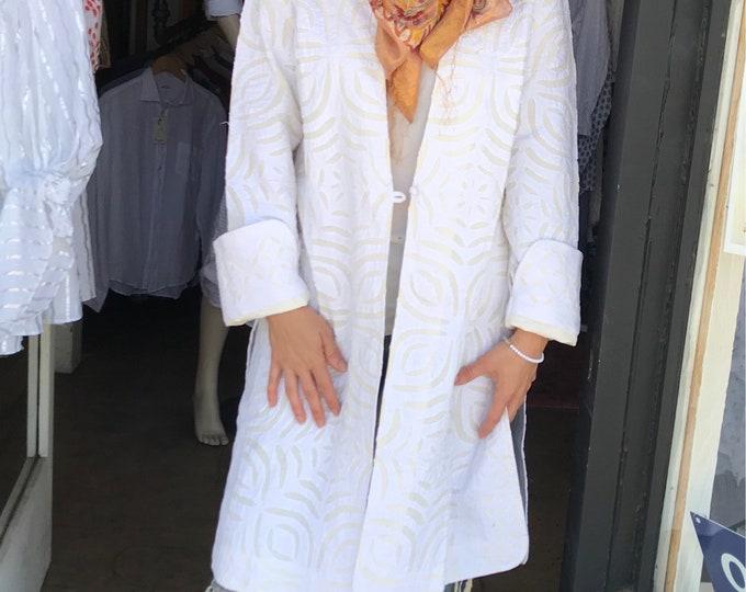 Shabby chic cutwork summer coat in white