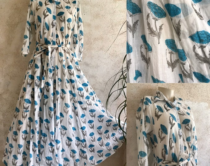 Cotton shirtdress in aqua floral block print with 8 gore skirt and pockets