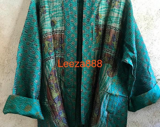 Magic lessons silk kantha plus size reversible kimono jacket