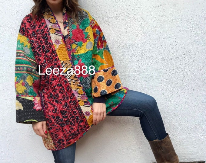 Family affair plus size cotton kantha kimono