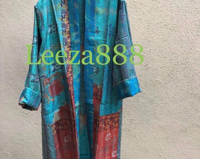 Blue Mermaid plus size reversible silk kantha duster/kimono