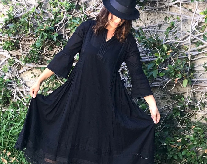 Black cotton voile Boho beach wedding dress