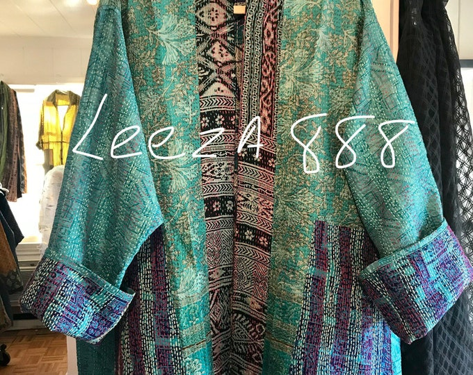 Plus size reversible silk kantha jacket in turquoise and purple