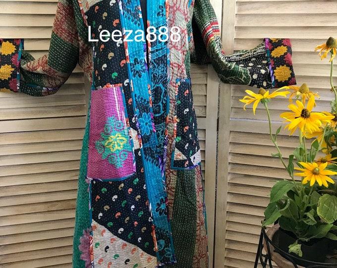 Artist coat in reversible patchwork cotton quilt