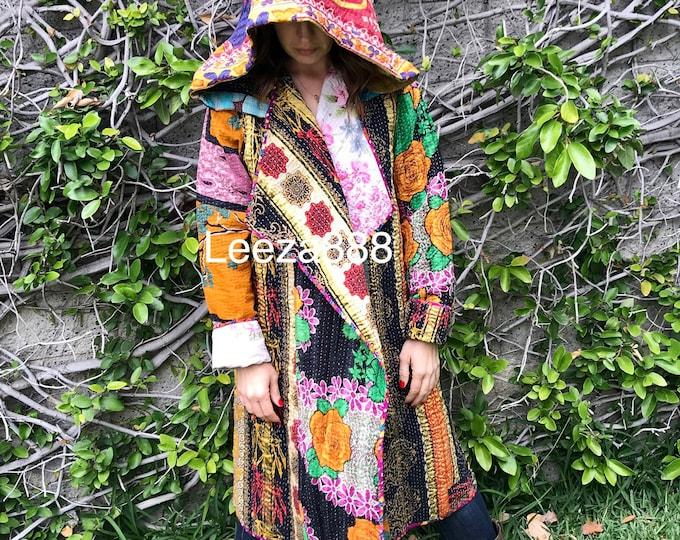 Hooded festival kantha quilt reversible travel nomad coat