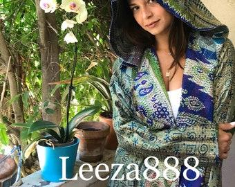 Peridot and lapis colors silk kantha reversible hoodie