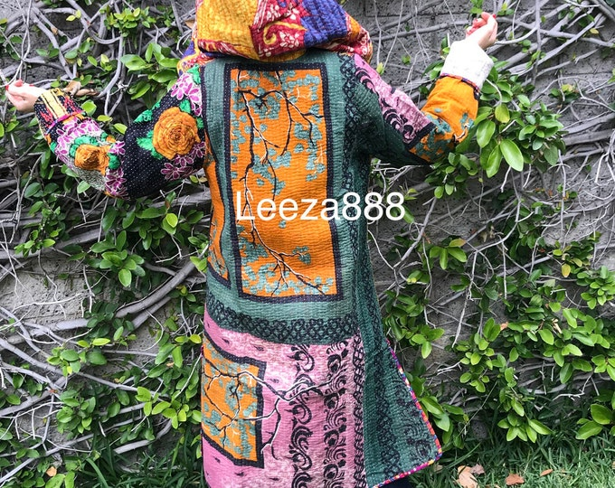 Hooded festival kantha quilt reversible travel nomad coat