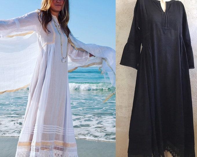 Featured listing image: Black cotton voile Boho beach wedding dress