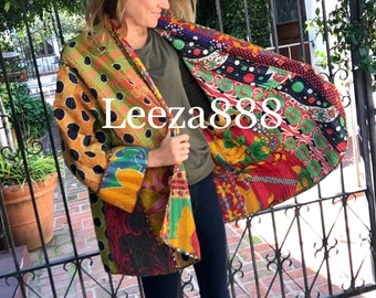 Plus size crazy patchwork cotton kantha reversible designer kimono style jacket