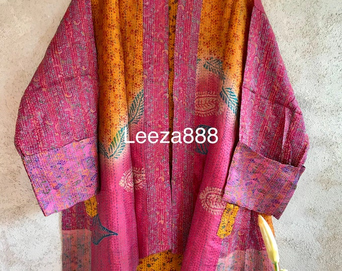 Reserved for Laura Tequila Sunrise reversible pLUS SIZE upcycled silk sari jacket in gorgeous denim color