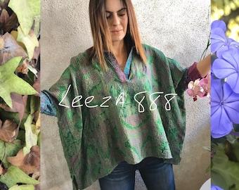V neck collared silk kantha shirt