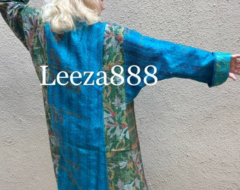Mendocino Weekend plus size reversible silk kantha duster/kimono