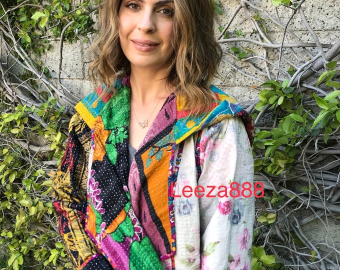 Sausalito hoodie in cotton upcycled kantha quilts