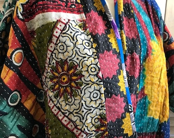 San  Miguel One of a kind reversible kantha kimono