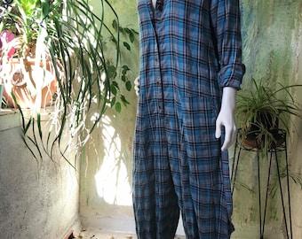 Blue cotton flannel plaid jumpsuit