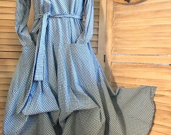 Blue gingham check picnic dress in washed cotton