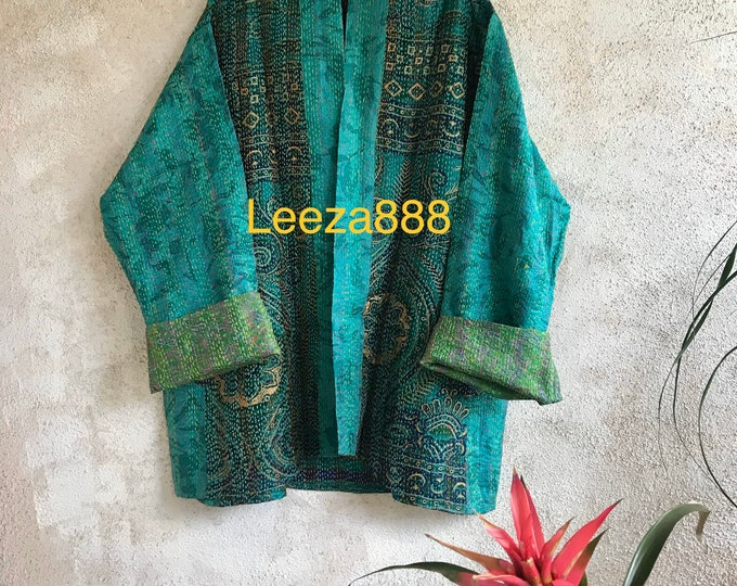 Mermaids are real kantha plus size reversible kimono jacket