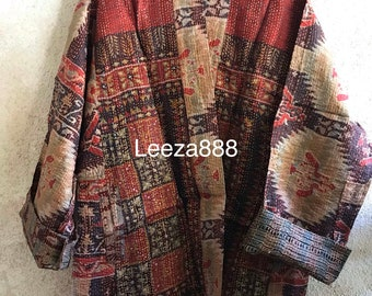 Indian sunset silk kantha plus size reversible kimono jacket