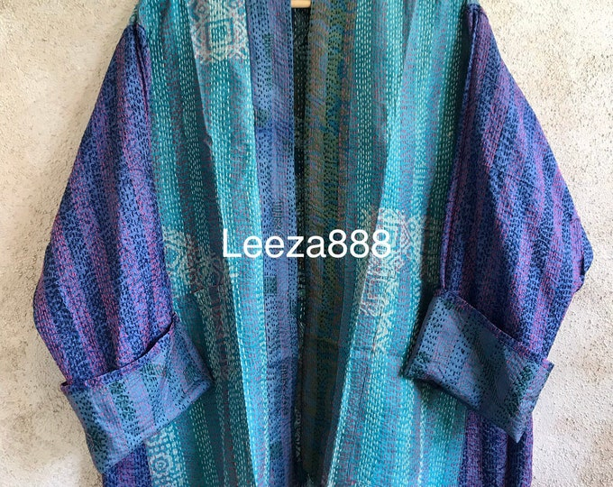 Colorful in Quarantine silk kantha  plus size reversible kimono jacket
