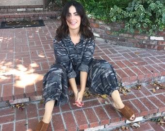 cotton/tencel camoflage jumpsuit