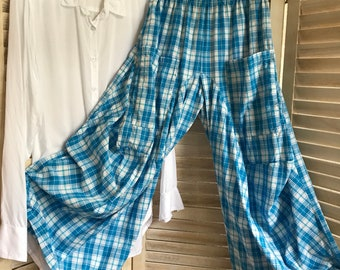 Turquoise plaid lagenlook pant in medium and small