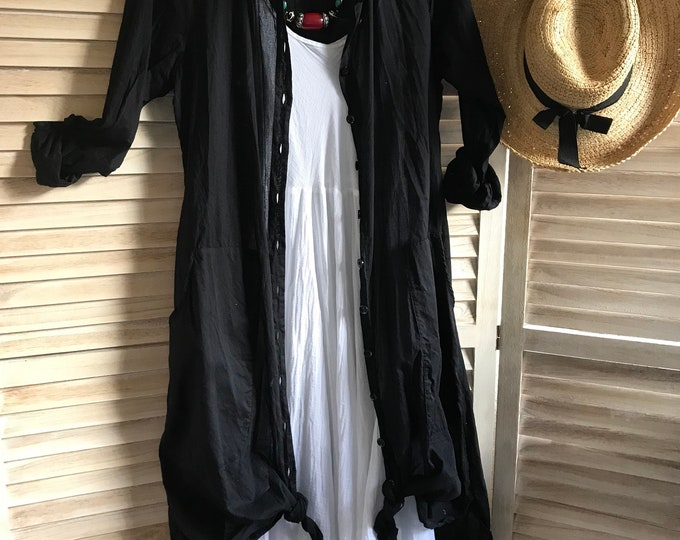 Cotton voile black shirtdress in size small