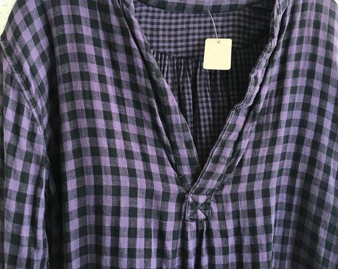 The Alexandra pullover shirt in double faced purple gingham flannel