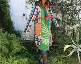Santa Fe  artists hooded reversible kantha coat