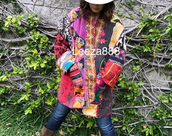 Plus size reversible kantha kimono style jacket perfect for outdoor summer concerts