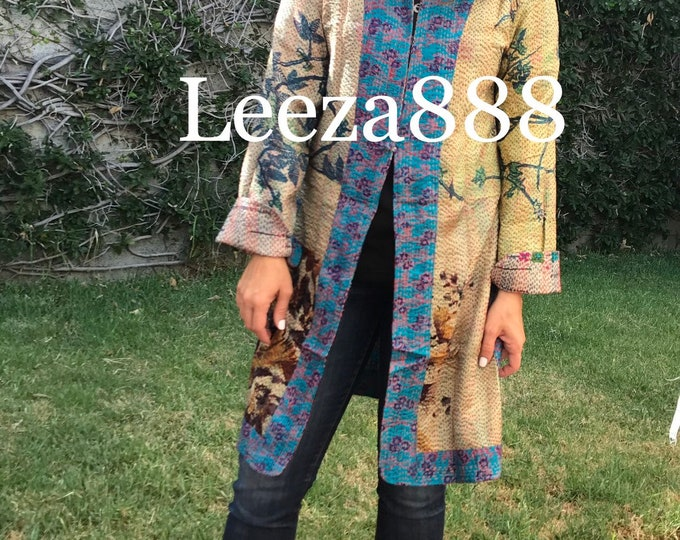 Stained Glass Exquisite and sophisticated color and print combination in this reversible longer silk kantha one button duster