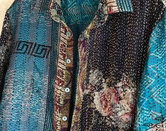 THE POET button down one of a kind reversible silk upcycled kantha shirt