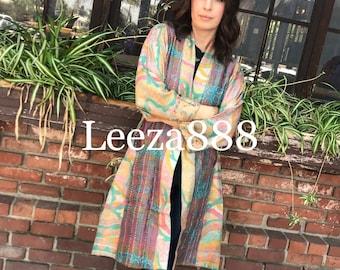 Artist kimono in silk kantha reversible silk