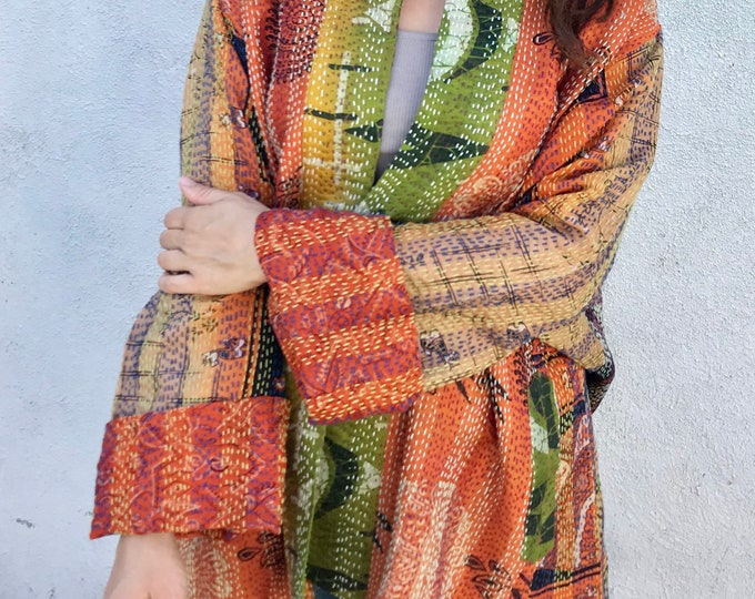 Orange punch plus size silk kimono