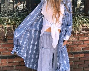 Chambrey textured cotton shirtdress/duster
