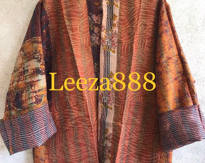 Sunset in the Vineyard silk kantha  plus size reversible kimono jacket