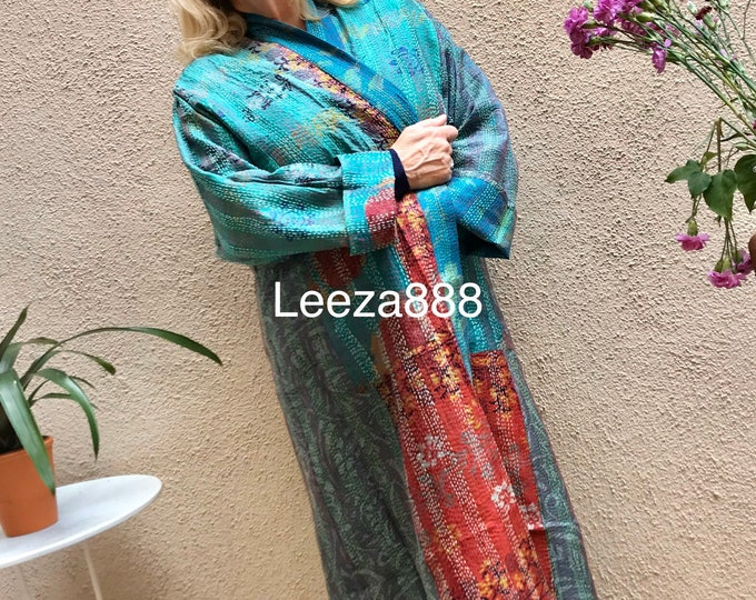 Blue Mermaid plus size reversible silk kantha duster/kimono