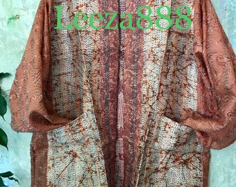 Mother Nature kantha plus size reversible kimono jacket