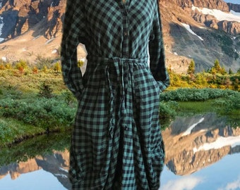 Green check flannel funky dress