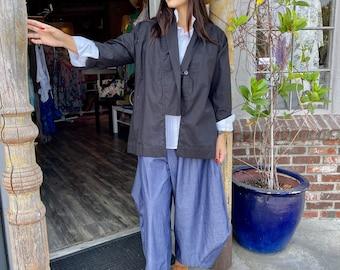 Lightweight black cotton cut away shawl collar one button blazer