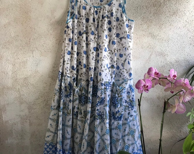 The blue floral version of A perfect spaghetti strap cotton voile blockprint floral mixed print dress with pockets
