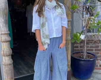 Pinstripe cotton seersucker funky pants